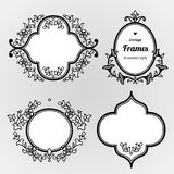 Filigree line art  frames in Eastern style. Filigree  frames in Eastern style. Ornate line art element for design, place for text. Ornamental black borders for Stock Image