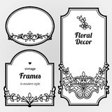 Filigree line art vector frames in Eastern style. Filigree vector frames in Eastern style. Ornate line art element for design, place for text. Ornamental black Royalty Free Stock Photos