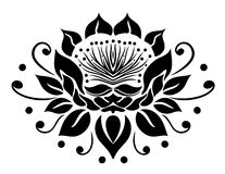 Filigree lotus flower. Black vector Stock Image