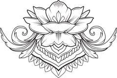 Filigree lotus flower, black vector. Filigree lotus flower, black floral vector ilustration Royalty Free Stock Image