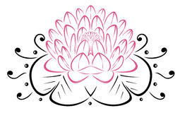 Filigree Lotus flower. Floral vector rose Stock Photos