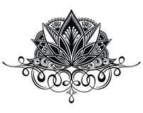 Filigree lotus flower. On white vector illustration