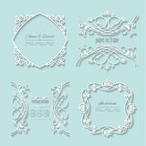 Filigree paper cut frames with long shadows. Invitation cards and templates set. Can be used for wedding design. Pastel blue and white colors Royalty Free Stock Photos