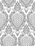 Filigree pattern with abstract fruit. Seamless filigree ornament. Black and white template for wallpaper, textile, shawl, carpet and any surface Stock Images