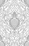 Filigree pattern with damask. Pattern with damask. Seamless filigree ornament. Black and white template for wallpaper, textile, shawl, carpet Stock Photos
