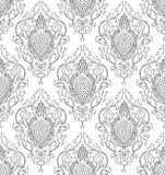 Filigree pattern with damask. Pattern with damask. Seamless filigree ornament. Black and white template for wallpaper, textile, shawl, carpet and any surface Royalty Free Stock Images