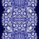 Filigree pattern with vintage ornament. Vector filigree ethnic pattern with vintage blue ornament on dark background Stock Photography