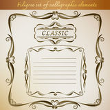 Filigree set of calligraphic elements for frame vintage design. Vector illustration Royalty Free Stock Image