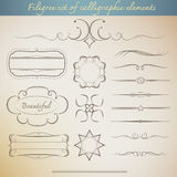 Filigree set of calligraphic elements for vintage design. Royalty Free Stock Photo