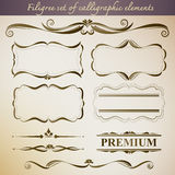 Filigree set of calligraphic elements for vintage design. Stock Images