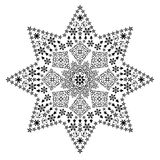Filigree star black. Black stars and christmas symbols and deco patterns forming the shape of a bigger star Stock Image