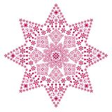 Filigree star red. Red stars and christmas symbols and deco patterns forming the shape of a bigger star Stock Images