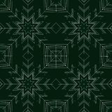 Filigree stars on green, pattern for gift wrap paper. Gift wrap paper or christmas card with stars white and green , digital art design stock illustration