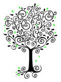 Filigree Tree. Illustration of a tree made of ink swirls isolated on white Royalty Free Stock Image