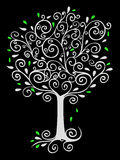 Filigree Tree on Black. Illustration of a tree made of ink swirls, reversed to white on black Stock Photos