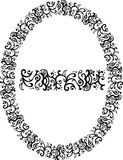 Filigree vector border. A vector border and an oval frame in floral filigree fashion Royalty Free Stock Photography