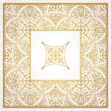 Filigree vector frame in Eastern style. Ornate element for design, place for text. Ornamental golden pattern for wedding invitations and greeting cards Royalty Free Stock Photography