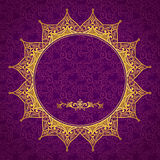 Filigree vector frame in Eastern style. Royalty Free Stock Photo