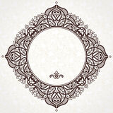 Filigree vector frame in Eastern style. Ornate element for design and place for text. Ornamental lace pattern for wedding invitations and greeting cards Stock Photo