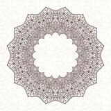 Filigree vector frame in Eastern style. Ornate element for design and place for text. Ornamental lace pattern for wedding invitations and greeting cards Stock Image
