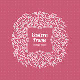 Filigree vector frame in Eastern style. Ornate element for design, place for text. Ornamental outline pattern for wedding invitations and greeting cards Royalty Free Stock Photography