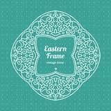 Filigree vector frame in Eastern style. Ornate element for design, place for text. Ornamental outline pattern for wedding invitations and greeting cards Royalty Free Stock Images