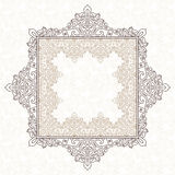 Filigree vector frame in Eastern style. Ornate element for design, place for text. Ornamental outline pattern for wedding invitations and greeting cards Royalty Free Stock Image