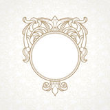 Filigree vector frame in Victorian style. Ornate element for design, place for text. Ornamental circle pattern for wedding invitations and greeting cards Royalty Free Stock Image