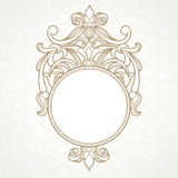 Filigree vector frame in Victorian style. Ornate element for design, place for text. Ornamental circle pattern for wedding invitations and greeting cards Stock Image