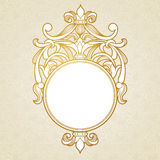 Filigree vector frame in Victorian style. Ornate element for design, place for text. Ornamental golden pattern for wedding invitations and greeting cards Royalty Free Stock Image