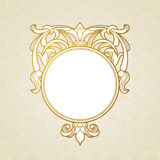 Filigree vector frame in Victorian style. Ornate element for design, place for text. Ornamental golden pattern for wedding invitations and greeting cards Royalty Free Stock Photography