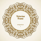 Filigree vector frame in Victorian style. Filigree vector frame in Victorian style in shape of a circle. Ornate element for design, place for text. Ornamental Royalty Free Stock Images