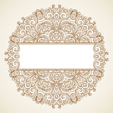 Filigree vector frame in Victorian style. Filigree vector frame in Victorian style in shape of a circle. Ornate element for design, place for text. Ornamental Stock Photos