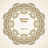 Filigree vector frame in Victorian style. Filigree vector frame in Victorian style in shape of a circle. Ornate element for design, place for text. Ornamental Stock Photo