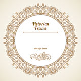 Filigree vector frame in Victorian style. Filigree vector frame in Victorian style in shape of a circle. Ornate element for design, place for text. Ornamental Stock Photography