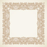 Filigree vector frame in Victorian style. Filigree vector frame in Victorian style in shape of a square. Ornate element for design, place for text. Ornamental Royalty Free Stock Photography