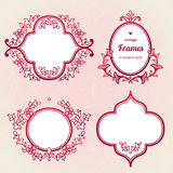 Filigree vector frames in Eastern style. Ornate element for design, place for text. Ornamental red borders for wedding invitations and greeting cards Royalty Free Stock Images