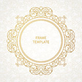 Filigree vector line art frame in Eastern style. Stock Photos