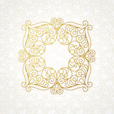 Filigree vector line art frame in Eastern style. Ornate element for design, place for text. Ornamental golden border for wedding invitations and greeting cards Stock Photos