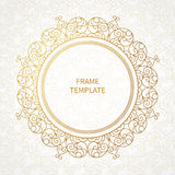 Filigree vector line art frame in Eastern style. Ornate element for design, place for text. Ornamental golden border for wedding invitations and greeting cards Royalty Free Stock Image