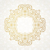 Filigree vector line art frame in Eastern style. Stock Image
