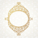 Filigree vector line art frame in Eastern style. Ornate element for design, place for text. Ornamental golden border for wedding invitations and greeting cards Stock Images