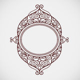 Filigree vector line art frame in Eastern style. Ornate element for design, place for text. Ornamental golden border for wedding invitations and greeting cards Royalty Free Stock Images