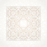 Filigree vector pattern in Victorian style. Filigree vector pattern in Victorian style in shape of a square. Ornate element for design. Ornamental beige Stock Photography