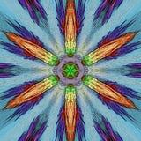 Filigree vivid floral pattern, star flower in neon blue. Vivid floral pattern, star flower in neon blue royalty free illustration