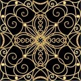 Filigree złoty ornament, płytka w art deco stylu, kruszcowi zawijasów wzory z 3d złudzeniem na czarnym tle Rocznik Zdjęcia Stock