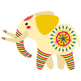 Filimonovo toy elephant. Vector toy elephant with pattern in national Russian Filimonovo  ornament isolated on white background Stock Photography