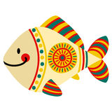 Filimonovo toy fish. Vector toy fish with pattern in national Russian Filimonovo  ornament isolated on white background Royalty Free Stock Photos
