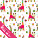 Filimonovo toy penny whistle cat. Seamless pattern. Seamless pattern. Filimonova toy penny whistle cat. Vector toy cat with pattern in national Russian Stock Image