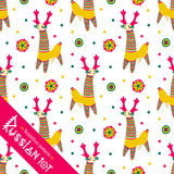 Filimonovo toy penny whistle deer. Seamless pattern. Seamless pattern. Filimonova toy penny whistle deer. Vector toy deer with pattern in national Russian Stock Photo